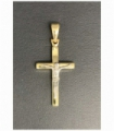 COLGANTE CRUZ CON CRISTO OR BICOLOR 18KT